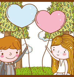 man and woman with hearts balloons and trees vector image