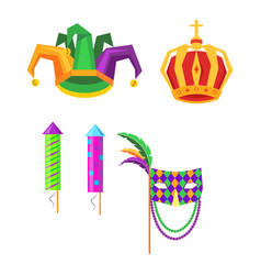 mardi gras carnival attributes icons set vector image