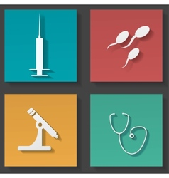 Medical sticker icons set vector image