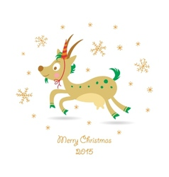 Merry Christmas greeting card with a goat vector image