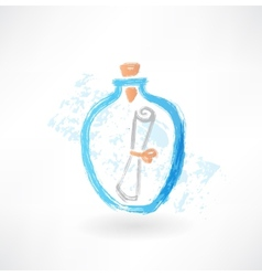 message in a bottle grunge icon vector image
