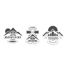 mountains logo design templates set mountain vector image