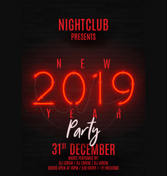 neon poster for happy new year party vector image
