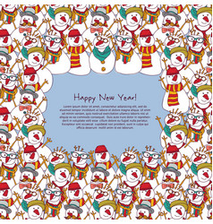 new year frame crowd snowmen greeting card vector image