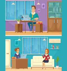 office worker 2 cartoon banners vector image