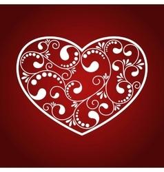 ornamental white heart vector image