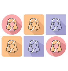 outlined icon female user picture vector image