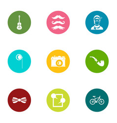 Physiognomy icons set flat style vector