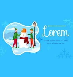 Playful christmas elves making snowman on street vector