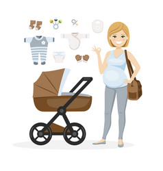 Pregnant woman and baboy care items vector