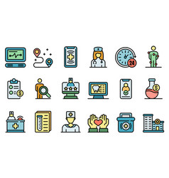 private clinic icons set flat vector image