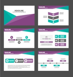 Purple green presentation templates Infographic vector image
