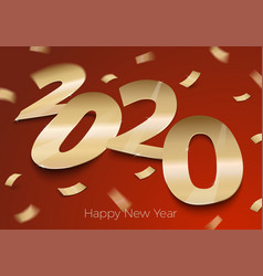 realistic bright gold paper number 2020 eps vector image