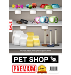 Realistic pet shop poster vector