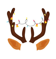 Reindeer antlers with christmas light garland and vector