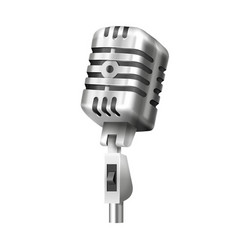 retro mic with stand studio or radio microphone vector image
