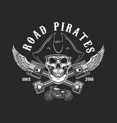 Road pirates human skull in pirate hat with vector