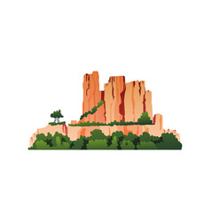 rocky mountains with green forests trees isolated vector image