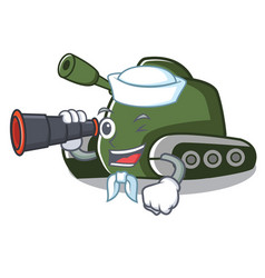 Sailor with binocular tank mascot cartoon style vector