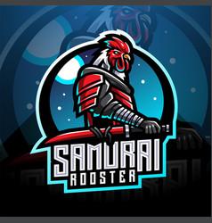 samurai rooster esport mascot logo vector image