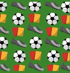 seamless pattern soccer ball sneaker and cards vector image