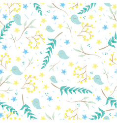 Seamless pattern with cute little birds branches vector