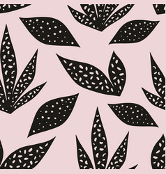 seamless pattern with stylized leaves on a pink vector image