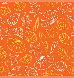 Seashells on orange background vector