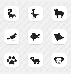 Set of 9 editable nature icons includes symbols vector