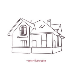 sketch wooden house vector image
