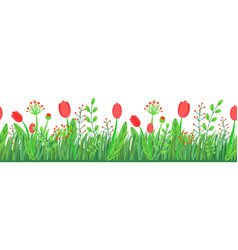 spring grass seamless border with flowers vector image
