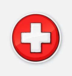 sticker medical white cross vector image