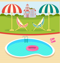 Summer day near pool vector