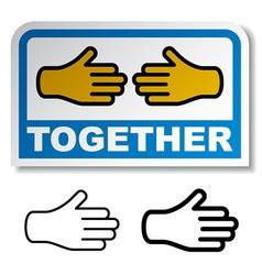 together shake hands sticker vector image