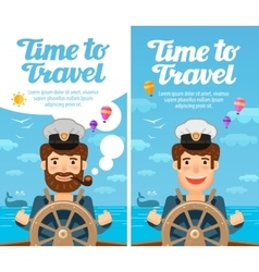 Travel to world cruise vacation sailor vector
