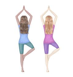 two girls dark-skinned and white doing yoga tree vector image
