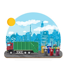 Urban cityscape with garbage car vector