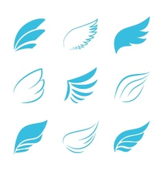 Variety Blue Wings on White Background vector image