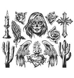 vintage dia de los muertos composition vector image