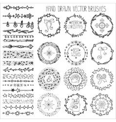 Winter doodle christmas decorblack vector