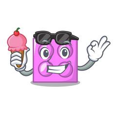 With ice cream toy brick character cartoon vector