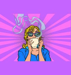 woman drinking tea or coffee vector image