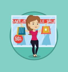 woman shopping on sale vector image
