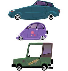 Cartoon cars set isolated on white vector image vector image