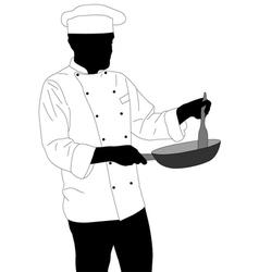 Chef preparing food in frying pan vector