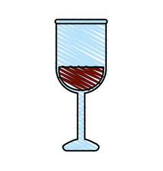color crayon stripe image glass cup with wine vector image vector image