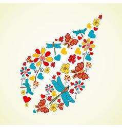 Colorful flowers leaf shape vector image