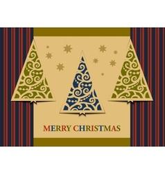 Postcard three christmas trees vector