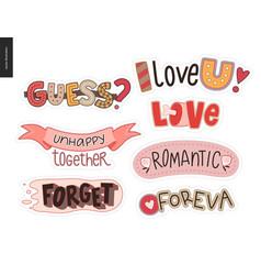 set of contemporary girlie love letter logo vector image vector image