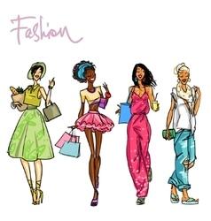 Set of pretty stylish women vector image